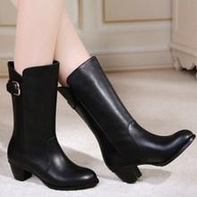 查看2015秋冬新款正品女靴中跟女鞋马丁靴女单靴中筒靴粗跟短靴女中靴