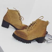 查看2015秋冬韩国东大门真皮系带女短靴粗跟厚底复古英伦风潮靴