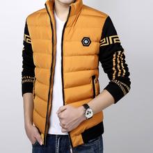 包邮15冬季新款冬装男士韩版修身棉衣加厚毛线袖保暖棉服外套拼色