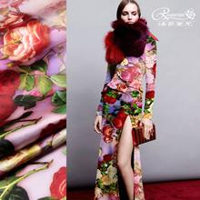 洛萨莱尔● 重磅真丝弹力缎绸缎 桑蚕丝真丝面料布料 玫紫底玫瑰