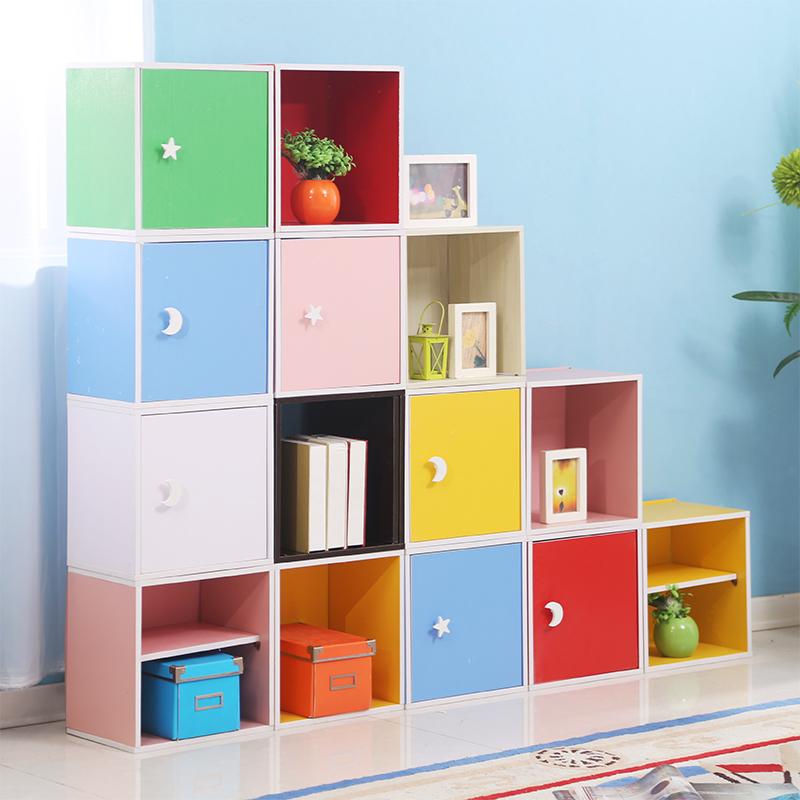 书柜自由组合简约现代小柜子带锁储物柜带门特价儿童置物柜格子柜