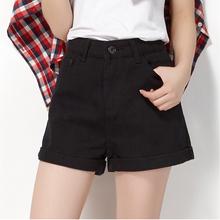 查看新款大码黑白色高腰牛仔短裤女热裤 胖MM韩版宽松显瘦 潮女夏