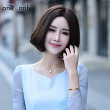 唯伊新款 全手织假发 时尚女士中长短梨花 蓬松齐刘海bobo头发套