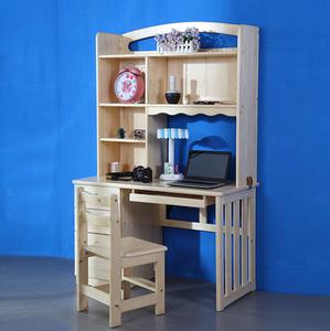 实木书桌转角电脑桌台式松木书桌书柜组合简约儿童学习桌带书架价格