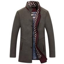 杰丹龙男装羊毛呢大衣中年毛呢外套男士呢子大衣中长款商务休闲男