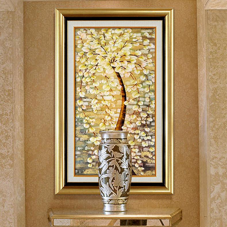发财树 高档欧式美式油画玄关餐厅书房有框画壁画挂画客厅装饰画