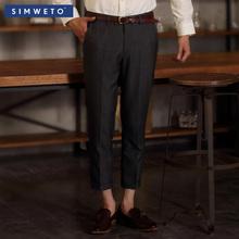 男士西裤商务休闲夏装男西裤男式正装男裤 修身免烫西服裤九分裤