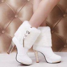 查看2015秋冬季保暖加绒毛绒毛毛短靴子雪地靴女靴兔毛粗跟高跟鞋女鞋