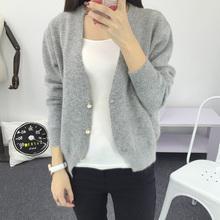 欧姿婷春秋女装宽松短款单排扣毛衣外套韩版长袖V领针织衫女开衫
