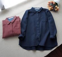 查看【年终大特价】纯棉宽松款加厚长袖棉布衬衫 翻领简约做旧 上衣