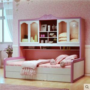 园粉色子母床 衣柜床高低床上下床母子床组合公主儿童家具价格: