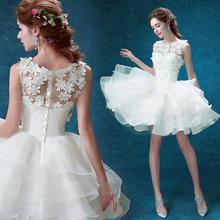 白色伴娘服新娘短款露背婚纱晚宴年会主持人小礼服2017新款10050