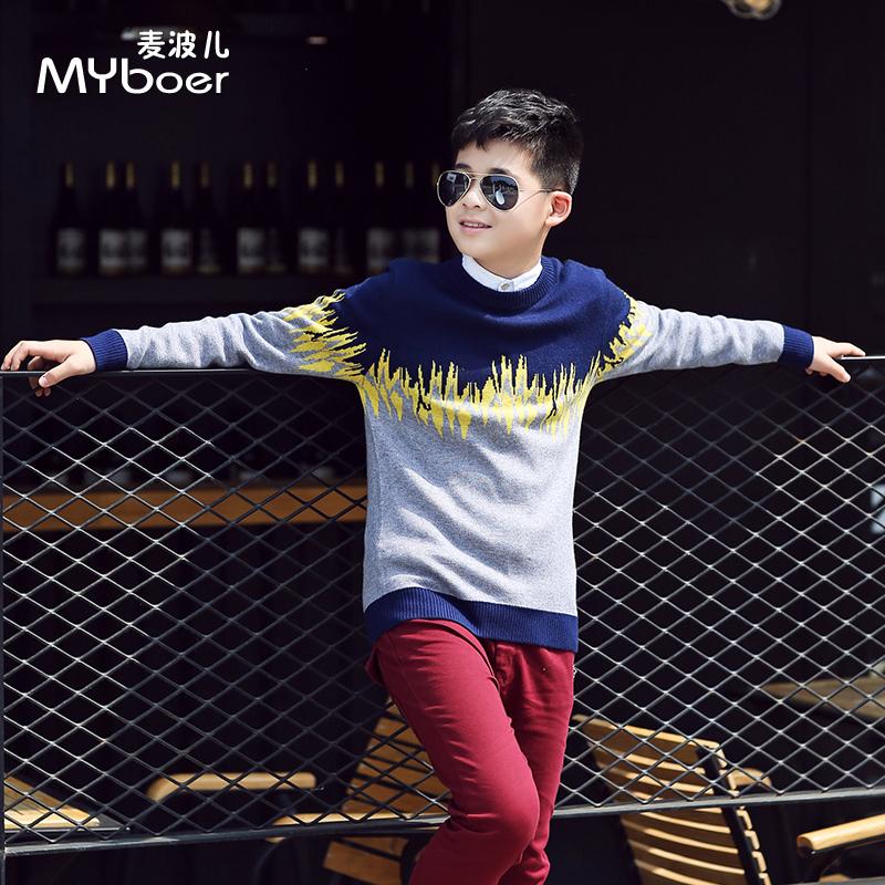 童装男童秋冬韩版套头毛衣儿童毛衣英伦潮中大童针织衫打底衫加厚