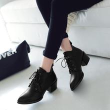 2017春秋短靴女真皮尖头短靴高跟马丁靴系带粗跟及踝靴女靴子短筒