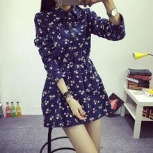 查看2015秋冬新款韩系时尚女装棉麻加绒加厚碎花衬衣连衣裙长袖打底裙