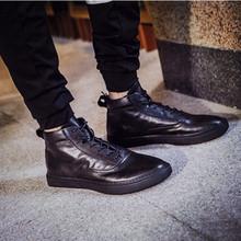 查看2015秋冬新款真皮高帮鞋男鞋英伦男士休闲鞋时尚潮流运动滑板鞋男