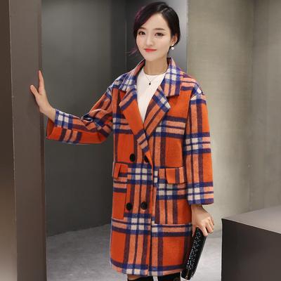怪怪树艾系列茗香流朵以简狐冬装新款欧洲站女装韩版毛呢外套