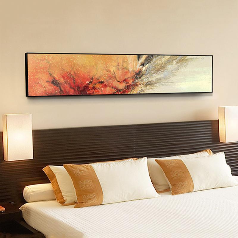赵无极现代客厅装饰画卧室床头挂画酒店抽象油画壁画饭店墙画横幅