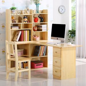 转角书桌和书柜人气排行 实木转角台式电脑桌带书架宜家用儿童书桌书
