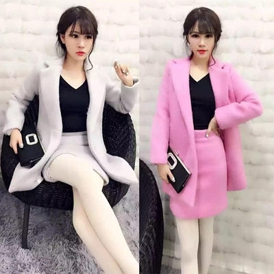 韩版时尚名媛小香风呢子两件套装秋冬中长款毛呢外套高腰包臀短裙