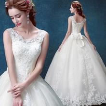 2017新款一字肩水溶蕾丝露背新娘婚纱绑带齐地婚纱礼服 5956