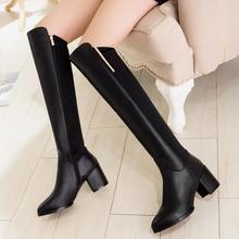 子藩 2017冬季新品  真皮女鞋 弹力莱卡弹力靴 粗跟高跟长筒靴