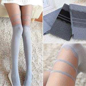 拼接丝袜日系假高筒过膝假大腿蕾丝花边连裤袜女春秋显瘦打底袜子