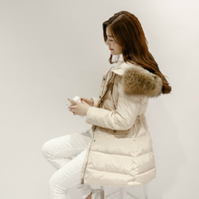 jaxcestar 2015冬季羽绒服女中长款加厚韩版潮修身显瘦大毛领外套