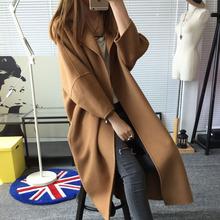 查看2015秋冬新款女装韩版时尚九分袖毛呢外套修身中长款大衣风衣女