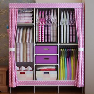 粉色衣裤挂衣柜大容量1.3米宽简易布衣柜钢架加固组装衣橱GPSJ54价图片