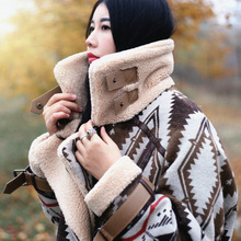 查看双12预售麦叙原创2015新款棉衣格子毛呢外套中长款女民族风棉衣潮