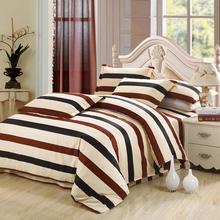 贝希尔全棉床品四件套简约条纹纯棉床单被套三件套男生士清仓包邮