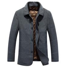 英伦休闲新款毛呢大衣男装翻领商务休闲中老年加厚保暖羊毛大衣男