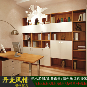 电脑书柜订做人气排行 整体书柜定做 田园现代欧式带电脑桌书柜订做 温州地区包送包安装