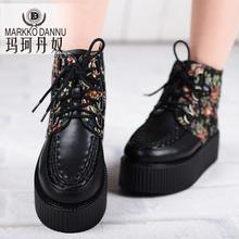松糕短靴新款2017马丁靴潮女短靴松糕鞋潮中跟保暖内里冬季厚底鞋