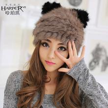 查看新款时尚可爱猫耳朵兔毛皮草帽子女韩版潮冬季甜美保暖女士帽子秋