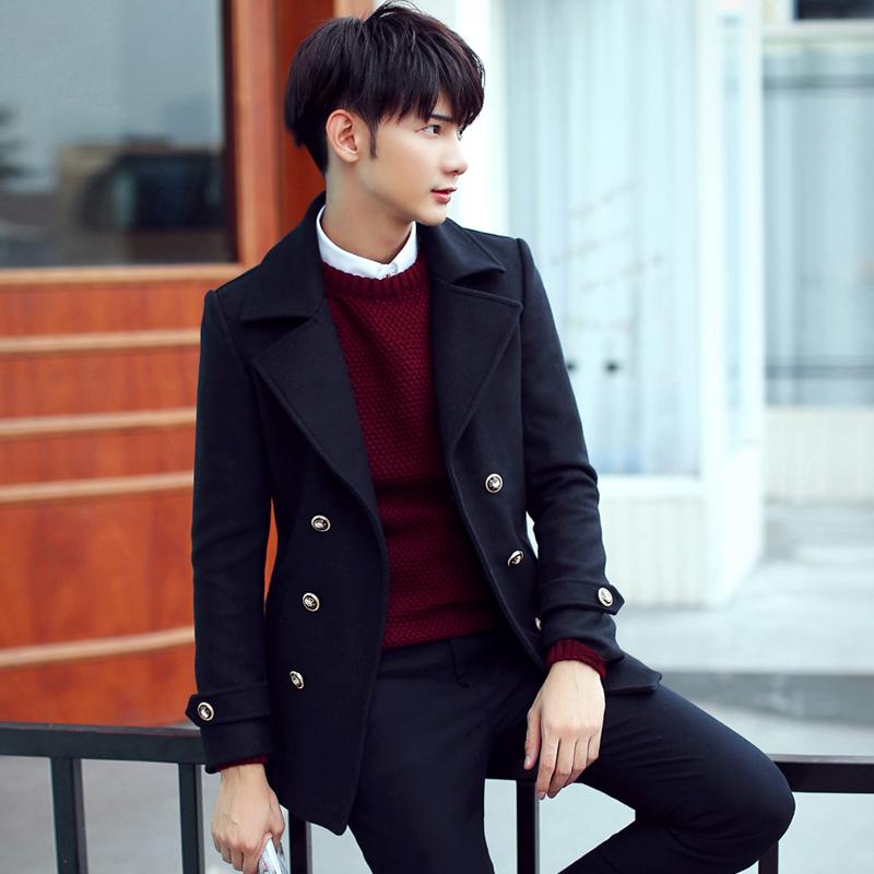 毛呢大衣男2015青年呢大衣韩版修身潮短款妮子大衣男士外套秋冬装