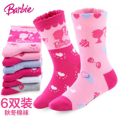 芭比女童袜子儿童袜子纯棉袜秋冬宝宝袜子加厚小孩短袜3-5-7-9岁1