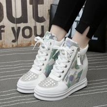 格格兔韩版潮内增高厚底松糕鞋迷彩拉链水钻高帮单鞋8cm高跟女鞋