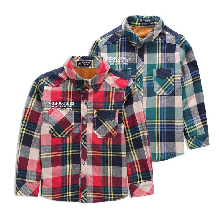 玛米玛卡专柜童装秋冬衬衣 男中大童全棉格子长袖加绒衬衫外套