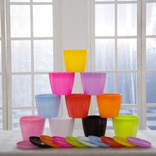 特价花瓣型PP树脂密胺花盆多色仿陶瓷办公室阳台软塑料彩色小花盆