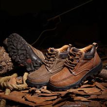 南伦男鞋冬季保暖加绒冬靴真皮男士棉鞋户外运动休闲鞋英伦工装鞋
