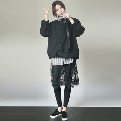 韩国新款镂空透视中长款刺绣花蕾丝欧根纱打底裙吊带裙连衣裙衬裙