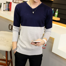 查看2015秋冬毛衣男V领套头韩版青年男士针织衫打底长袖修身拼色线衣