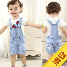 查看包邮夏季韩版儿童牛仔背带短裤宝宝男童童装吊带裤子婴幼儿可开裆