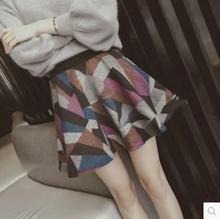 查看冬装新款2015韩版高腰彩色拼色毛呢大摆蓬蓬裙半身裙伞裙短裙裤女