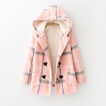 查看日系森女系2015冬季女装新款格子连帽羊羔绒中长款毛呢外套棉衣女