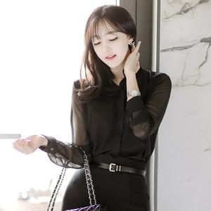 衬衫女长袖韩版2015秋装新款OL上衣大码女装立领打底衫雪纺衬衣潮