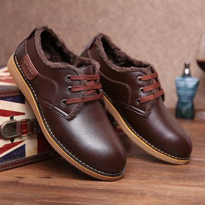 男版秋冬款皮鞋男士防滑耐磨休闲鞋低帮系带加绒板鞋真皮圆头鞋子