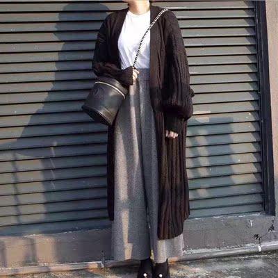 秋冬新款韩国复古宽松大码加厚纯色长袖毛衣外套中长款针织开衫女